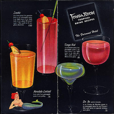 vintage illustrated tiki drinks