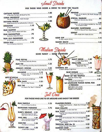 Tiki drinks s enter the tiki for Mixed alcoholic drinks list